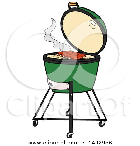 Big Green Egg Bbq Cooker with Ribs on the Grill Posters, Art Prints.