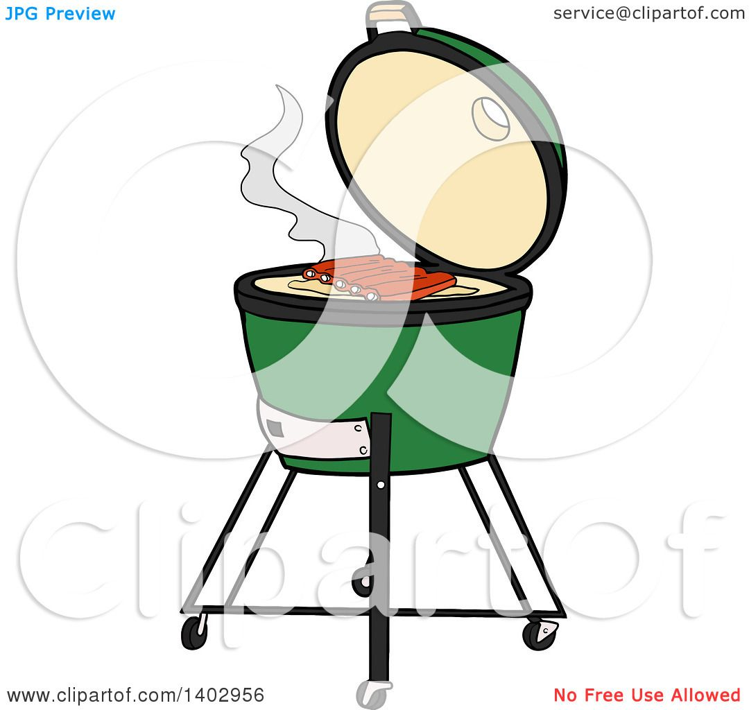 Cartoon Clipart of a Big Green Egg Bbq Cooker with Ribs on the Grill.