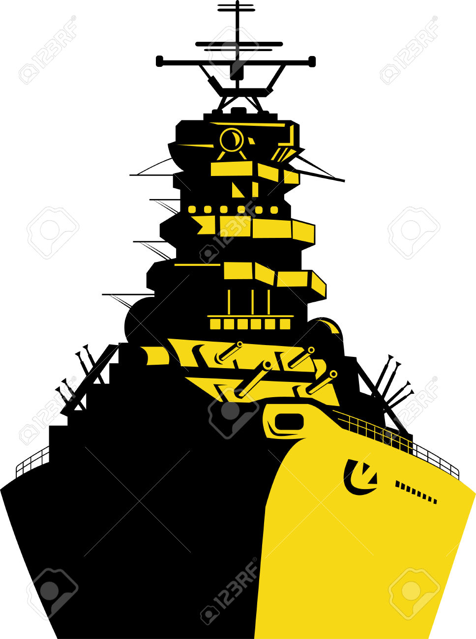 Warship With Big Guns Royalty Free Cliparts, Vectors, And Stock.