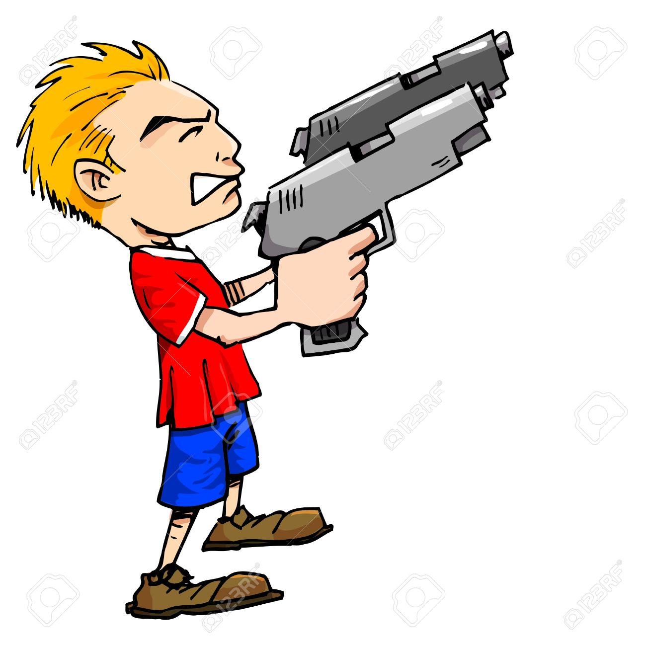 Cartoon Of Boy With Big Guns Royalty Free Cliparts, Vectors, And.