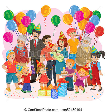 big happy family together celebrate a birthday with gifts, balloons and cake.