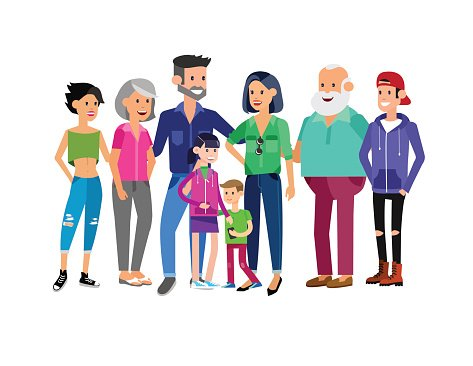 Set of Big Happy Family Character premium clipart.