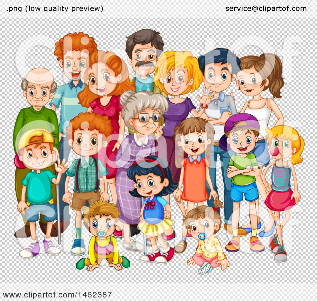 Clipart of a Big Happy Family.
