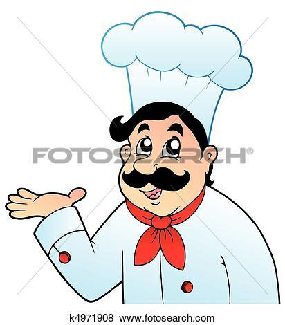 Clip Art of Cartoon chef in big hat k4971908.