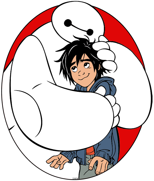 Clip art of Baymax hugging Hiro from Big Hero 6 #bighero6.