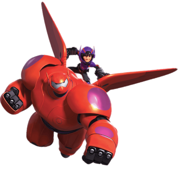 Big Hero 6 Baymax and Hiro In Full Armour transparent PNG.