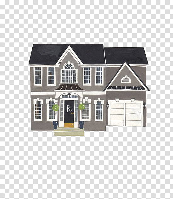 Large Building, gray, white, and black house art transparent.