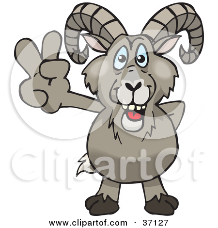 Clipart of a Cartoon Happy Bighorn Sheep Playing an Acoustic.