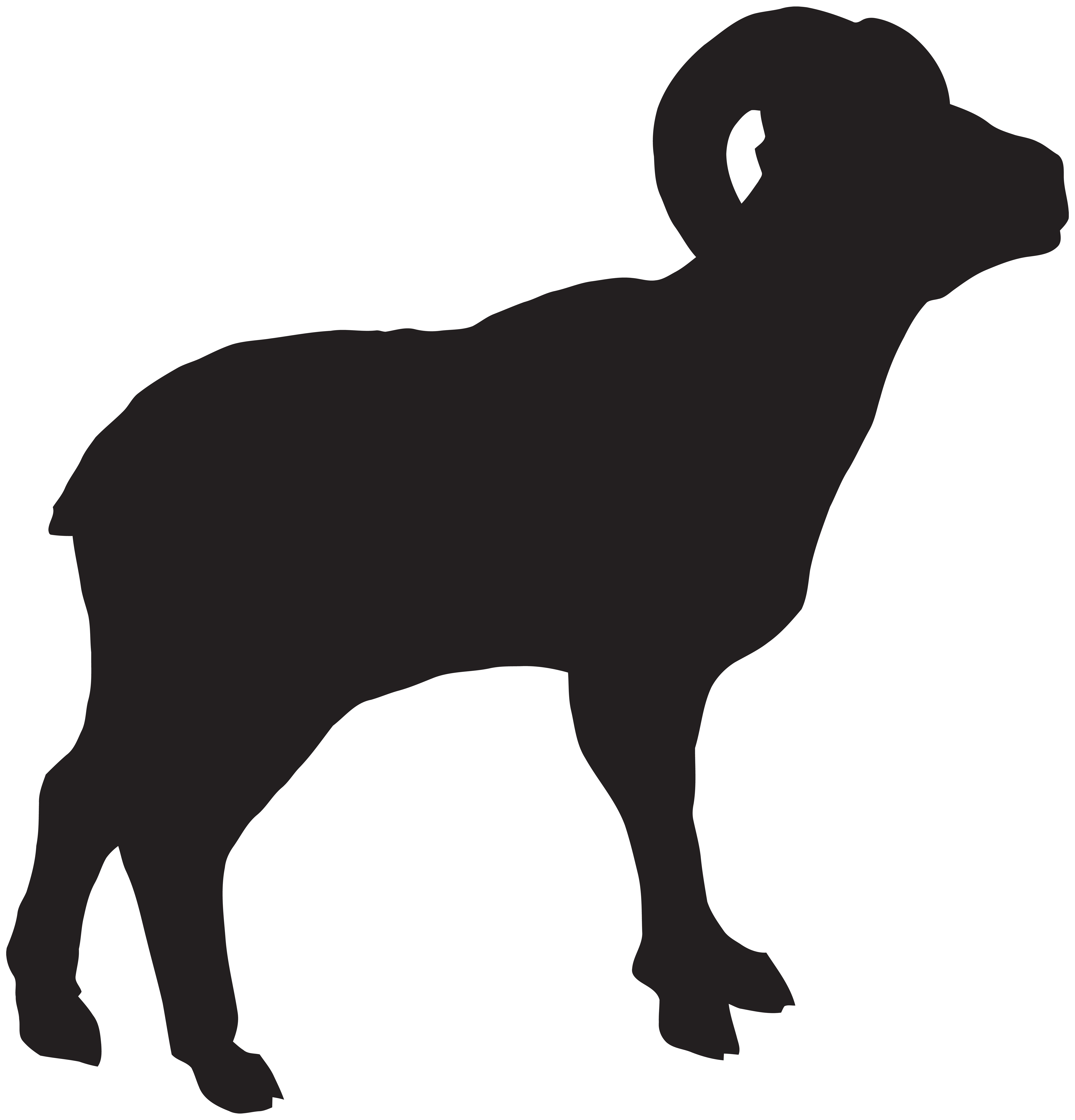 Bighorn Sheep Silhouette PNG Clip Art Image.