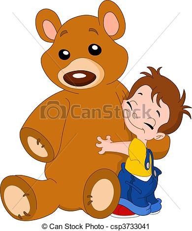 Kid hug bear.