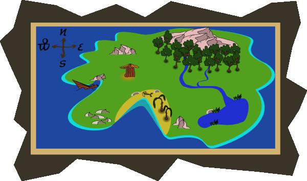 Big Island Treasure Map Clipart.