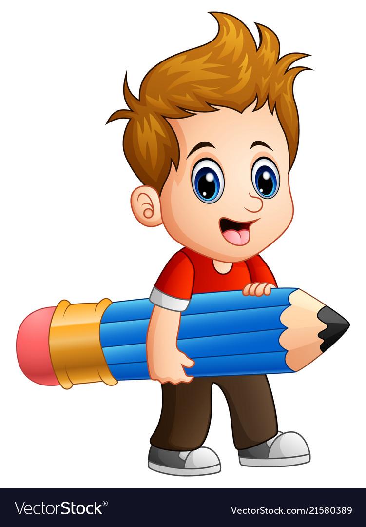Little boy holding a big pencil.