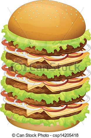 Vector Clip Art of A big pile of hamburger.