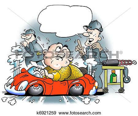 Stock Illustration of Too big man in a too small car k6921259.