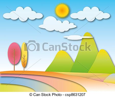 Stock Illustrations of Big mountain with sunny cloudy sky.