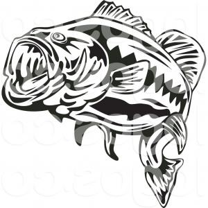 Royalty Free Clip Art Vector Logo Of A Black And White Largemouth.