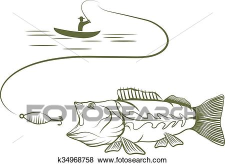 Illustration of fisherman in a boat and big mouth bass Clip Art.