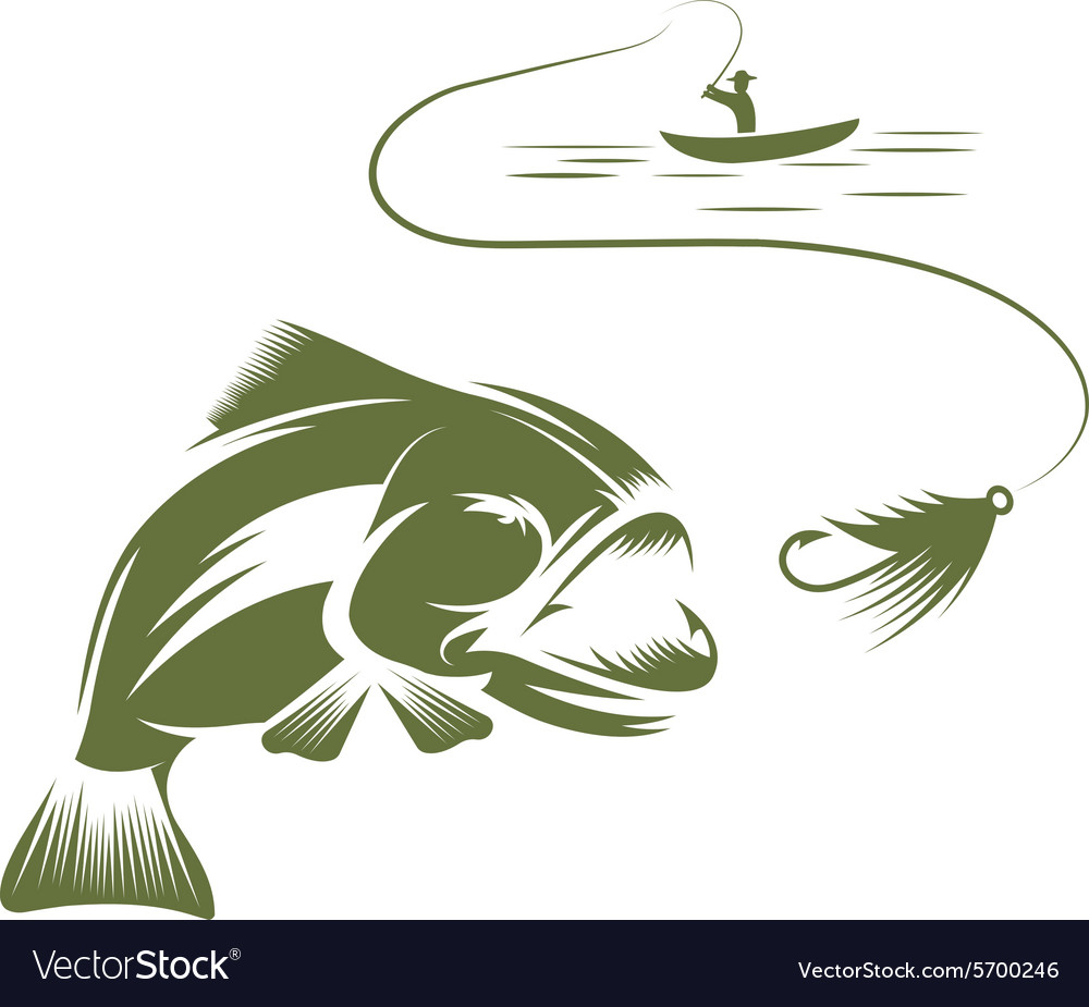 Fisherman in a boat and big mouth bass.