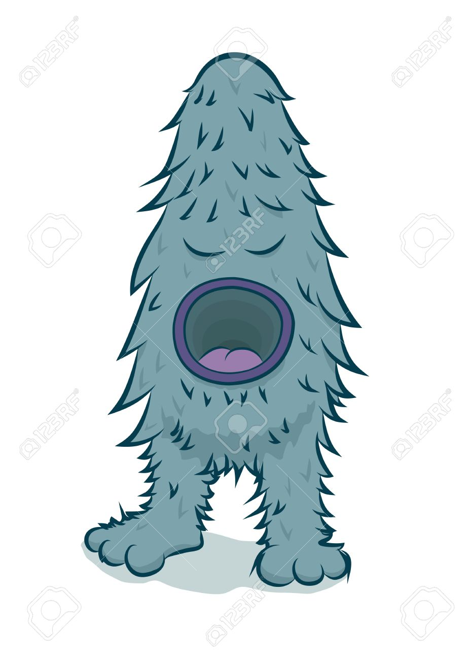 Furry Blue Monster With Big Mouth Royalty Free Cliparts, Vectors.