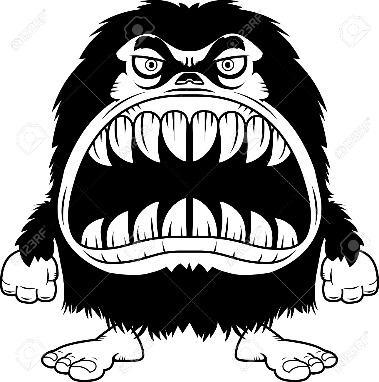 A Cartoon Illustration Of A Hairy Monster With A Big Mouth Full.