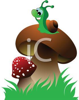 Cartoon Clip Art Illustration of a Snail Sitting on a Mushroom.