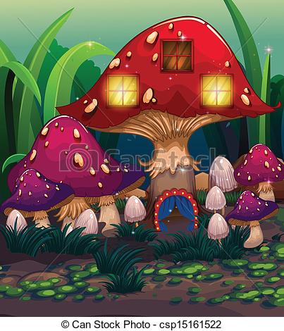 Vector Illustration of A big mushroom house with a blue curtain.