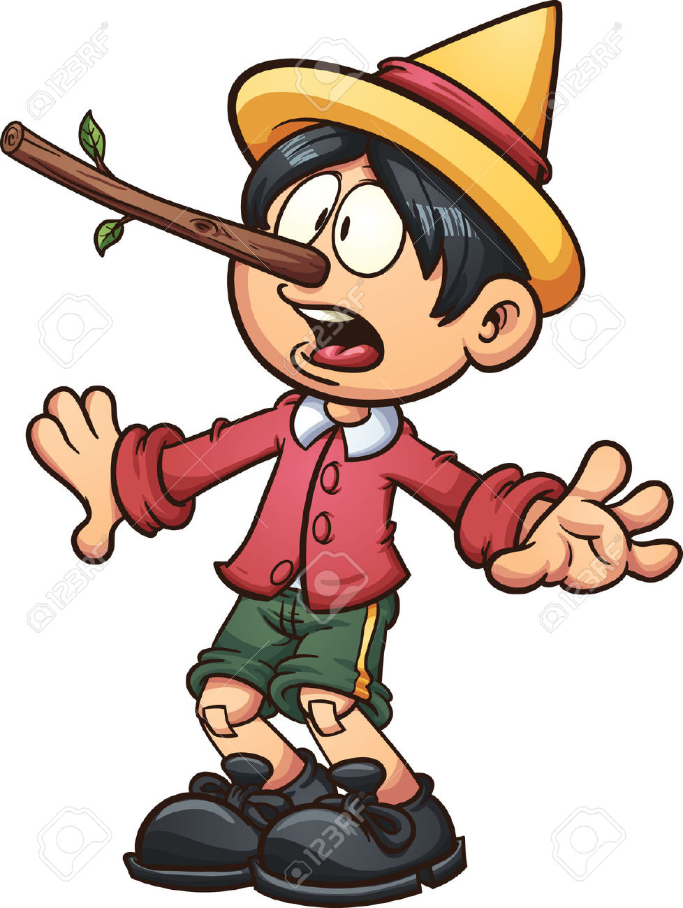 Pinocchio With A Big Nose. Vector Clip Art Illustration With.