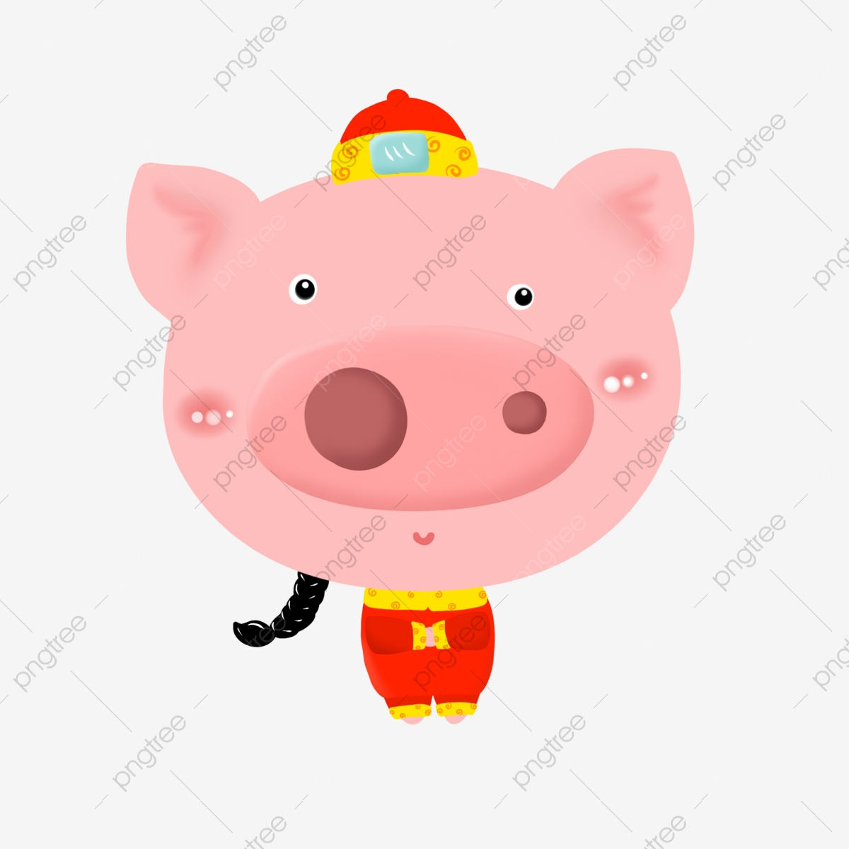 Red Hat Clothes Tang Suit, Arch Hand, Whole Body, Big Nose PNG.