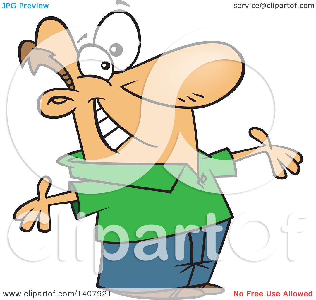 Clipart of a Cartoon White Man Welcoming with Big Open Arms.
