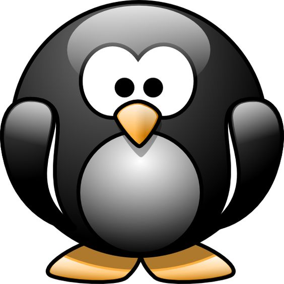 Cute Cartoon Penguins With Big Eyes.