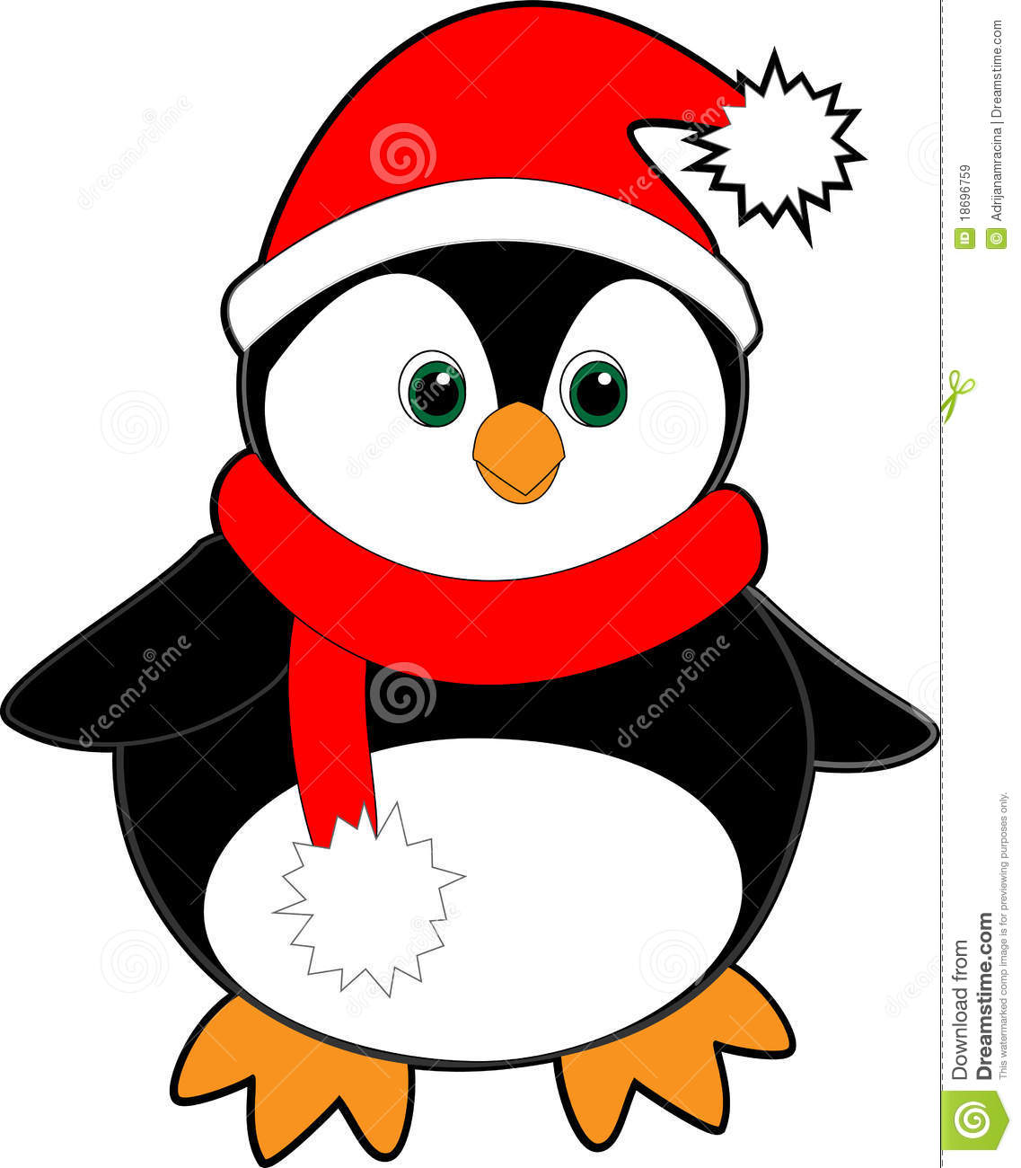 Clip Art Penguin With Scarf Clipart.