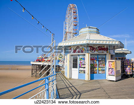 Stock Photo of England, Lancashire, Blackpool. A toy shop and the.