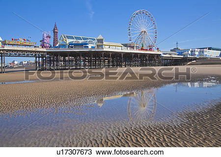 Stock Photo of England, Lancashire, Blackpool. A big wheel on.