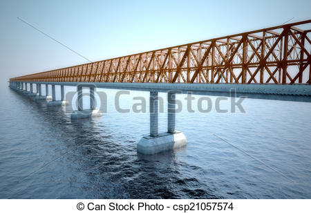 Stock Illustrations of Big bridge of the coming sun against the.