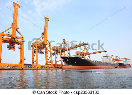Stock Photos of big container ship on port with big pier lifting.