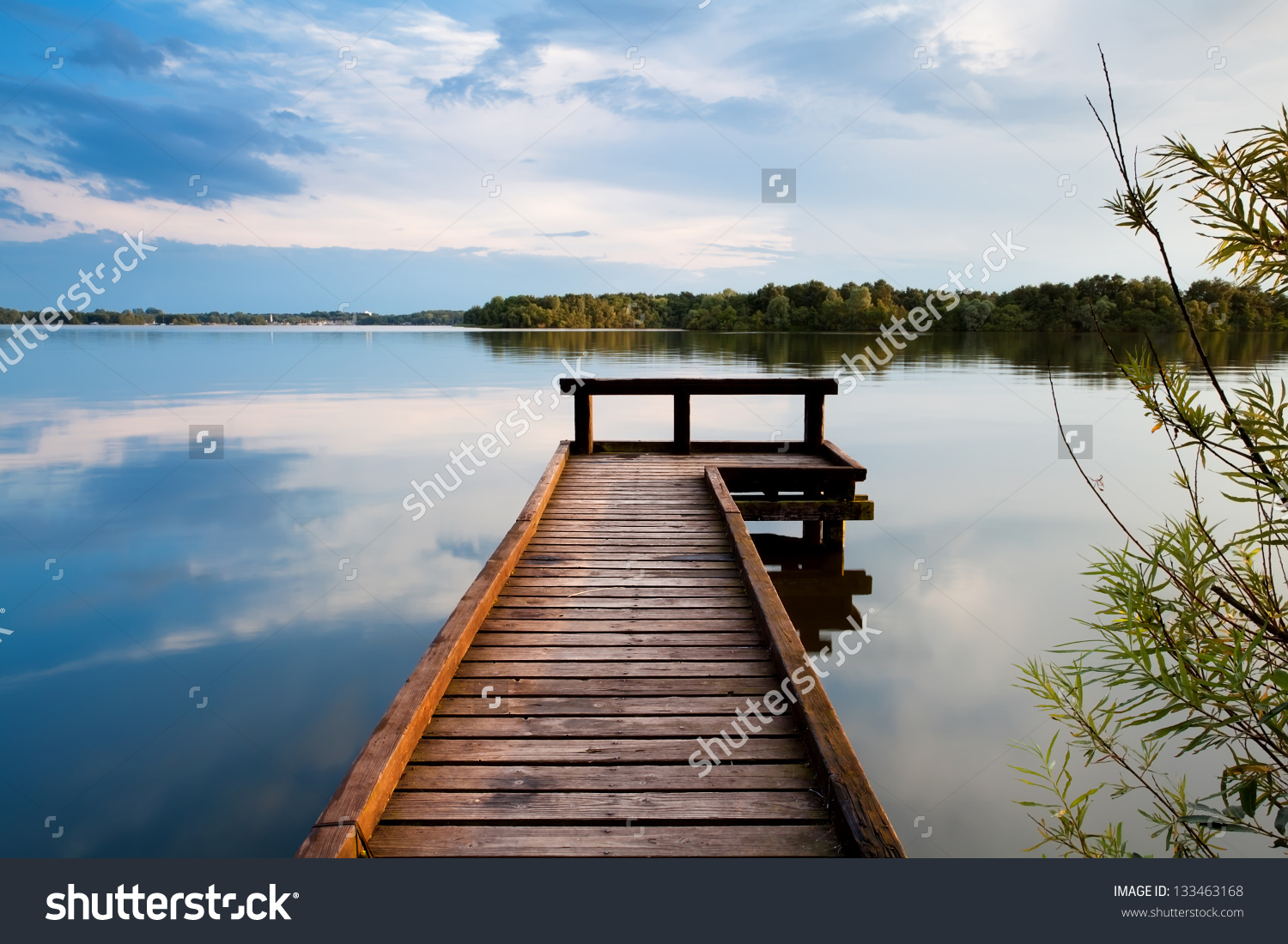 Wooden Pier On Big Lake Groningen Stock Photo 133463168.