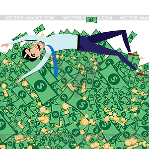 Happy businessman lying on big pile of money.