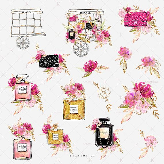 Spring Fashion Clipart, Paris Flower Cart Clip Art, Hot Pink.