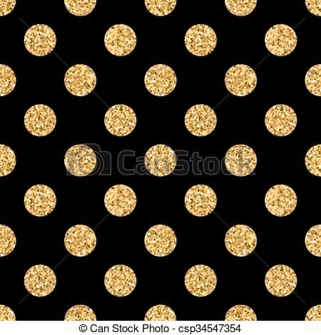 Clipart Vector of Polka dot BIG gold 1 black.