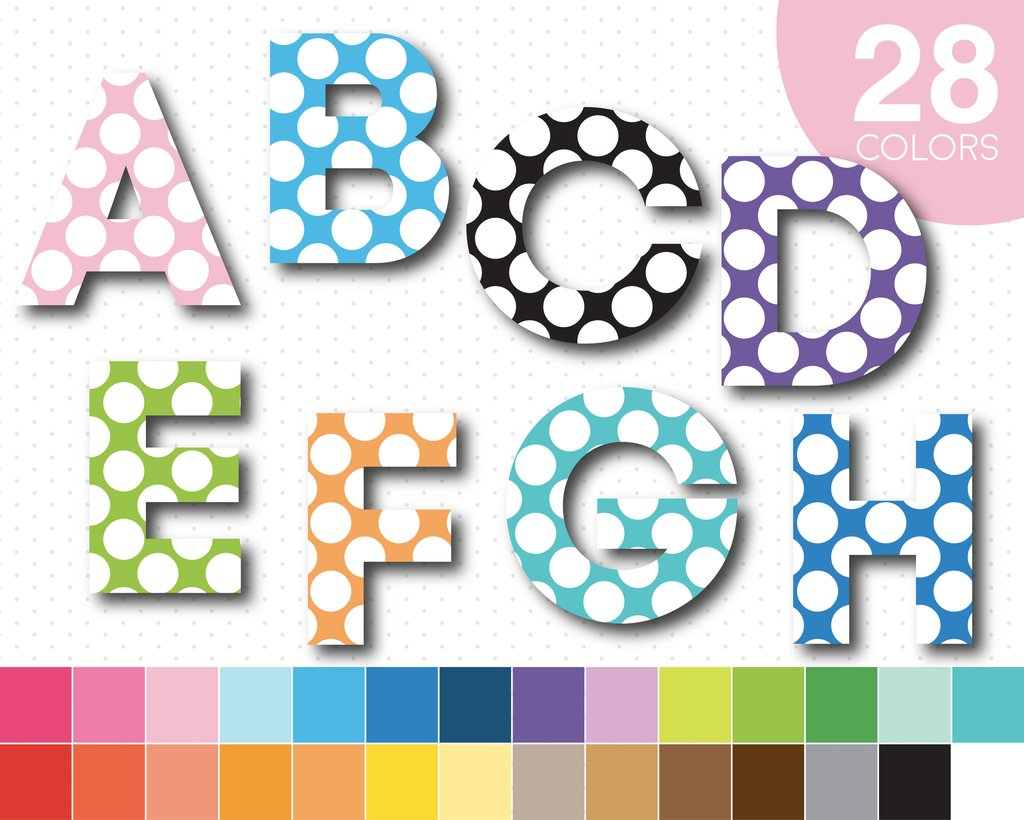 Big polka dots rainbow alphabet clipart with numbers, AL.