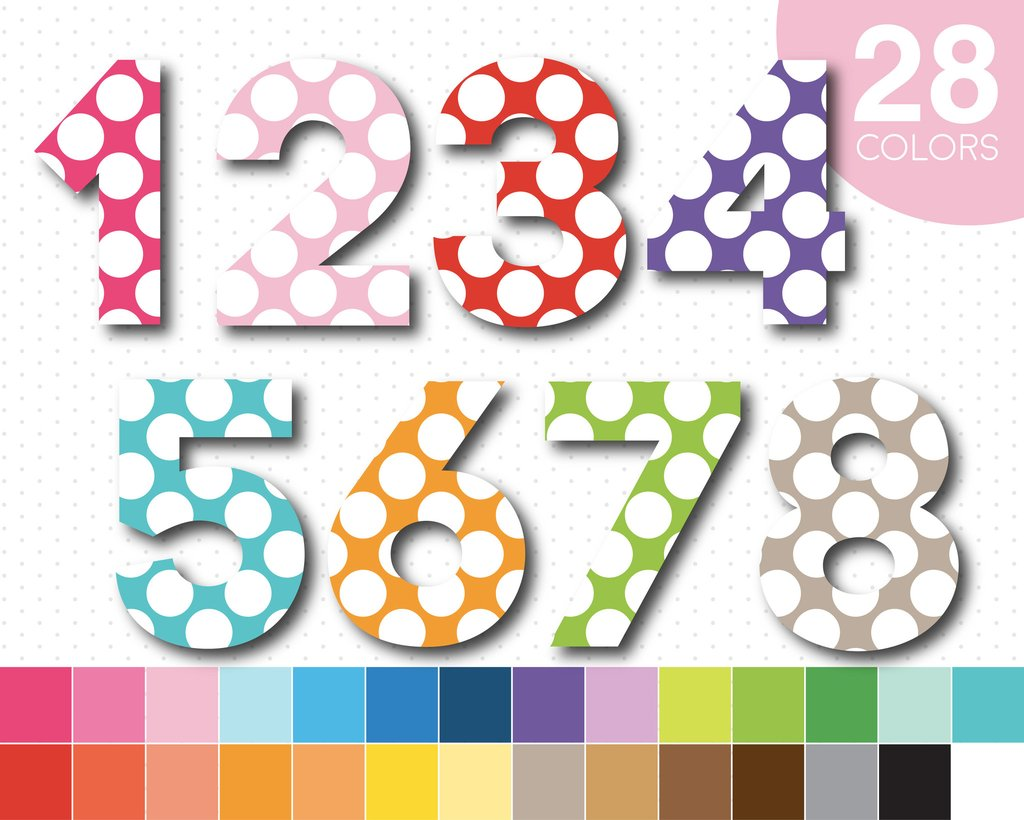 Big polka dots rainbow alphabet clipart with numbers, AL.