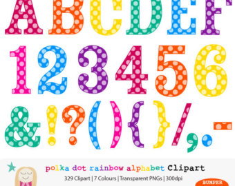 Polka Dot Numbers Clipart.
