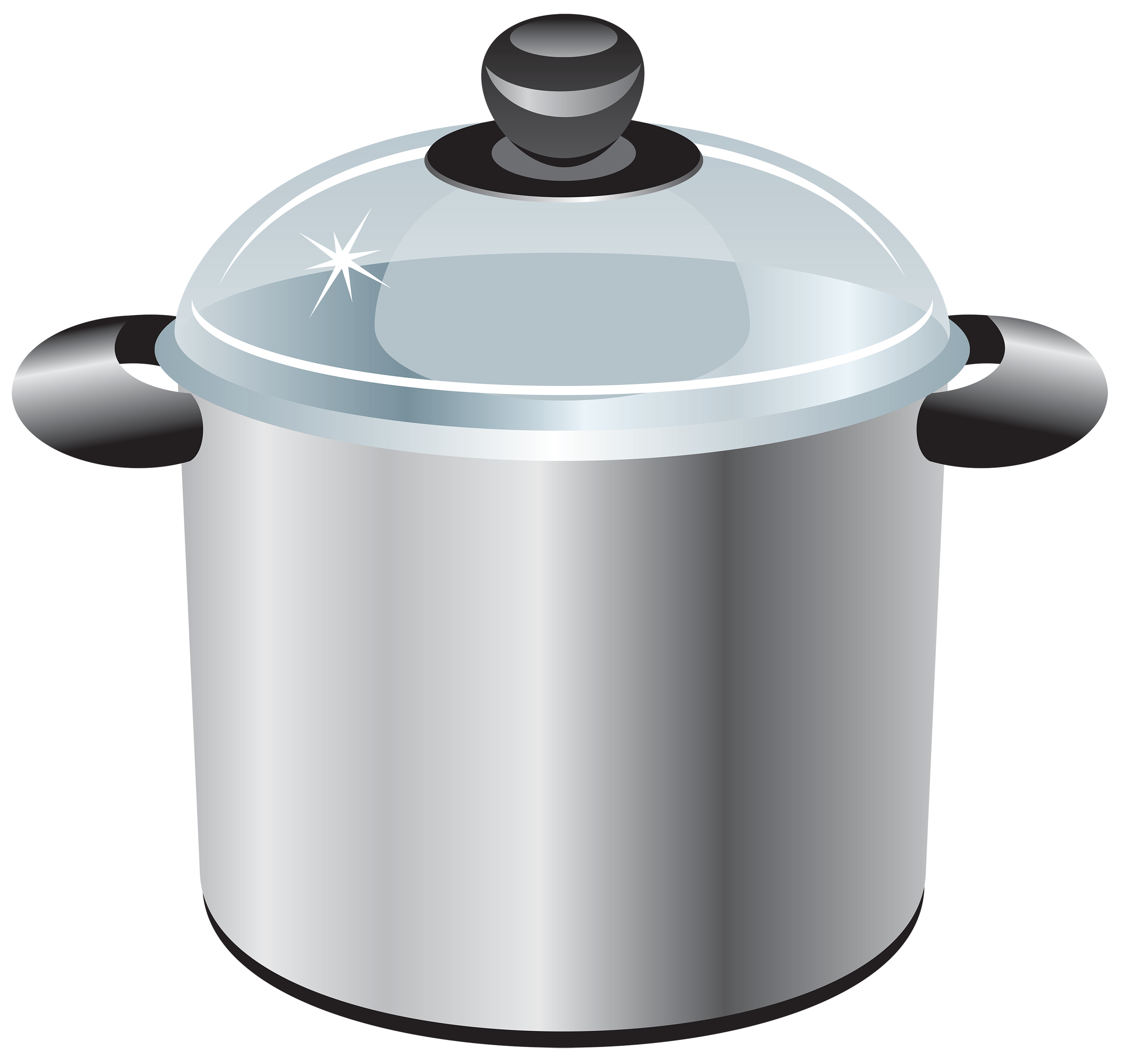 Silver Cooking Pot Clipart.
