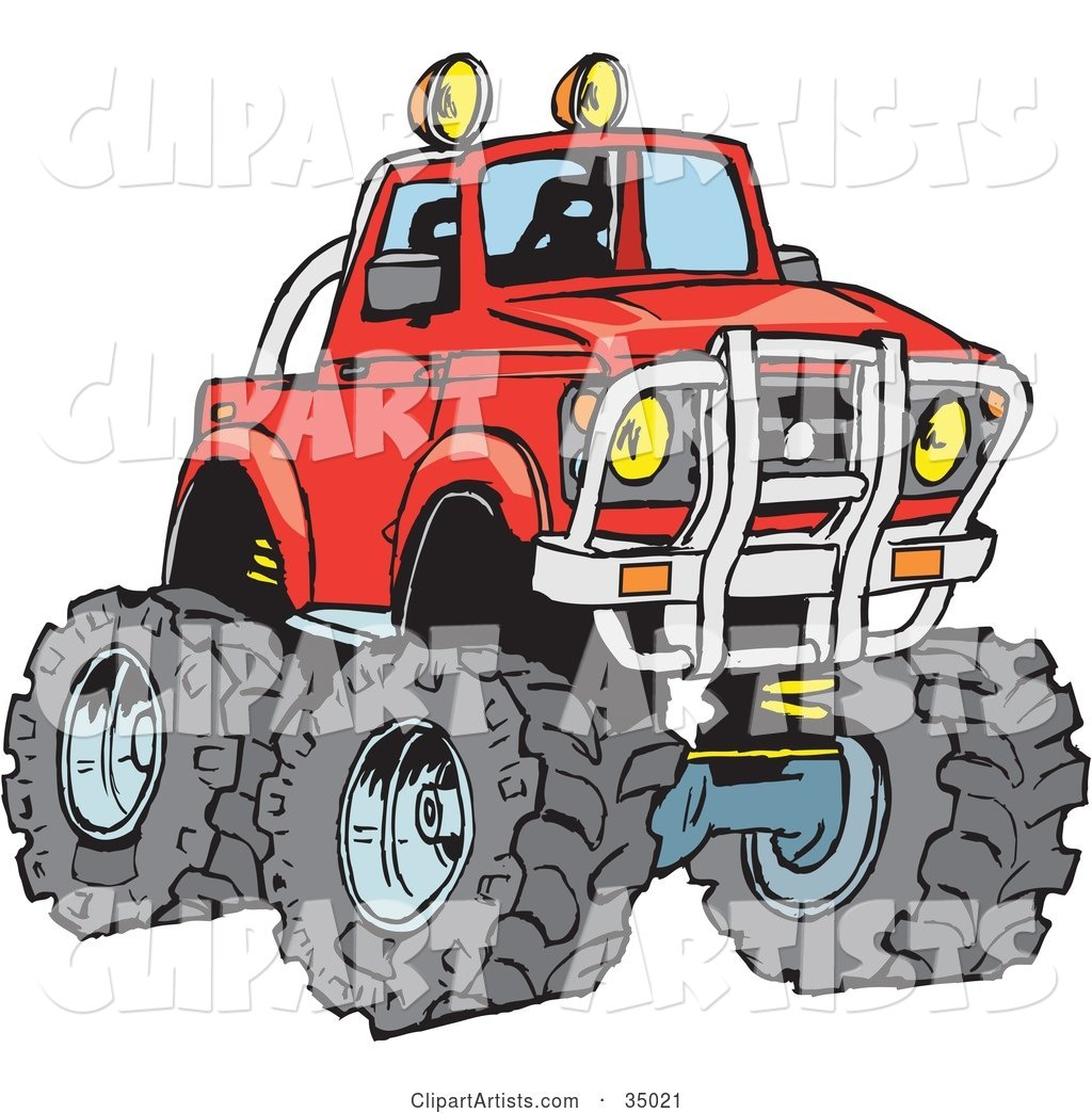 Big Red Pickup Truck With A Lift And Huge Tires, Ready For.