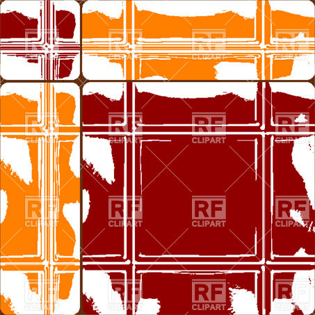 Orange and red ceramic tiles with abstract paint stain Vector.