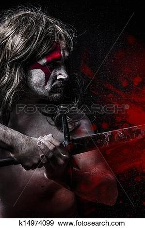 Stock Photograph of Blood concept, man with big sword, red stains.