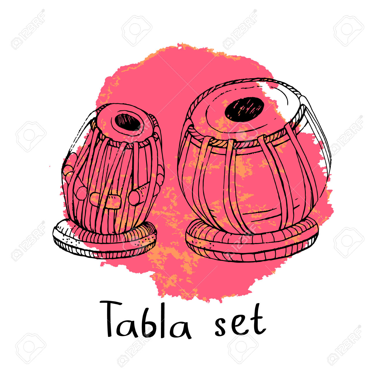 Hand Drawn Sketch Of A Traditional Indian Percussion Instrument.