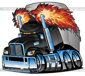 Semi Truck Tractor Trailer Big Rig Cartoon Vector.