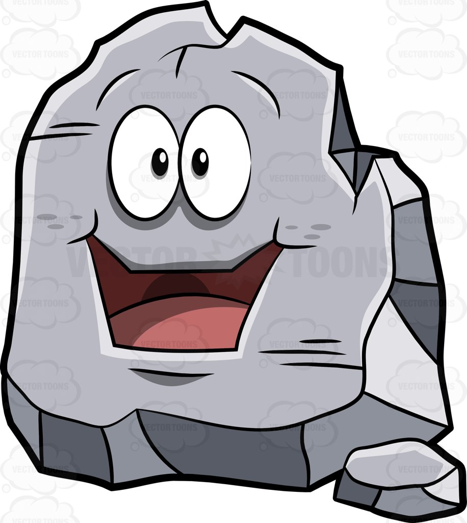 A Big Rock Looking Very Happy In Astonishment Cartoon Clipart.