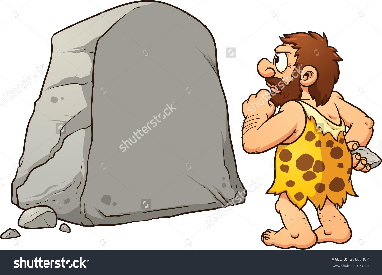 Caveman Looking Large Rock Thinking Vector Stock Vector 123867487.